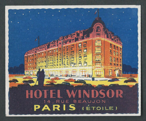 Hotel Windsor PARIS France - vintage luggage label