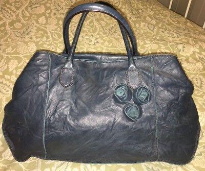 FALORNI Italia Le Borse Blue Teal Ripple Rose Bud Handbag Purse Bag-Near Mint