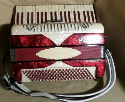 Pearl Red & White Rivoli Special By Sonola Piano Accordion Musical Instrument