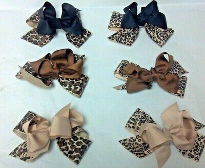 Animal Print Hair Bow - 3pc Animal Print Hair Bow w/ Alligator Clip Cheetah Leopard Lot of 3