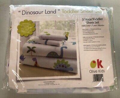 - Olive Kids Dinosaur Land 3 Piece Sheet Set (Toddler)