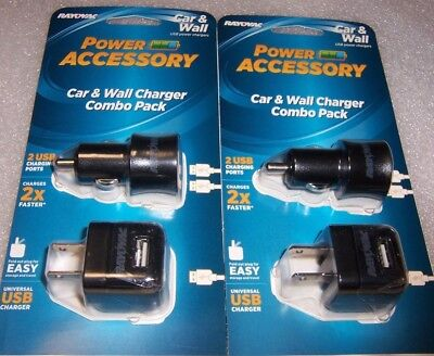 2 RAYOVAC USB Car & Wall Charger Combo Packs Useful Gift Items . Free Ship.