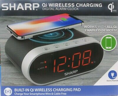 Sharp Qi Wireless Charging Digital Alarm Clock Compatible With Apple Samsung USB