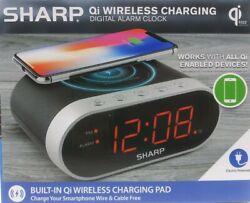 Sharp Qi Wireless Charging Digital Alarm Clock Compatible With Apple Samsung USB