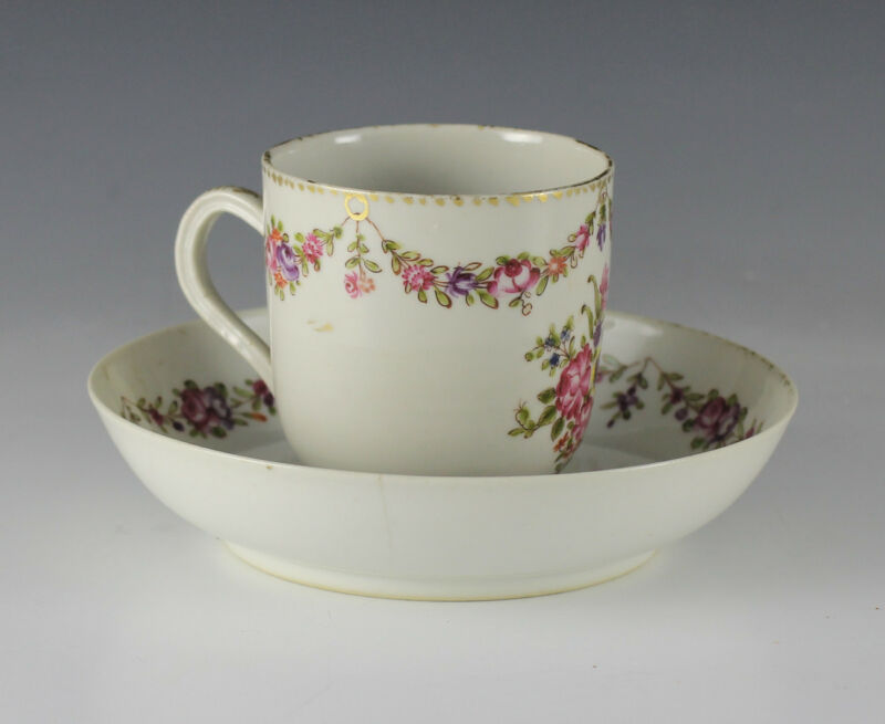 19th Century English Porcelain Cup and Saucer, Hand painted Floral Swags