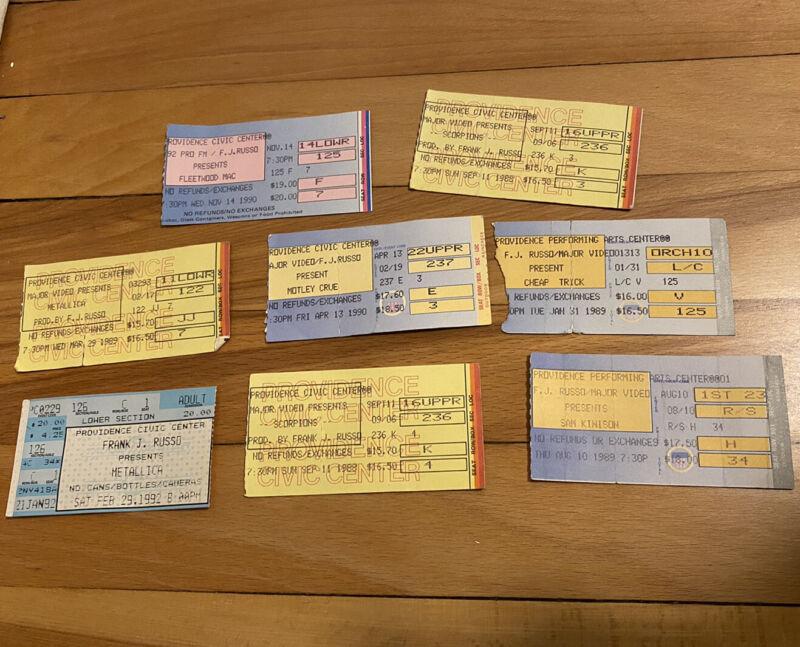 Vintage 80s 90s METALLICA MONTLEY CRUE SCORPIONS Rock Concert Ticket Stub Lot