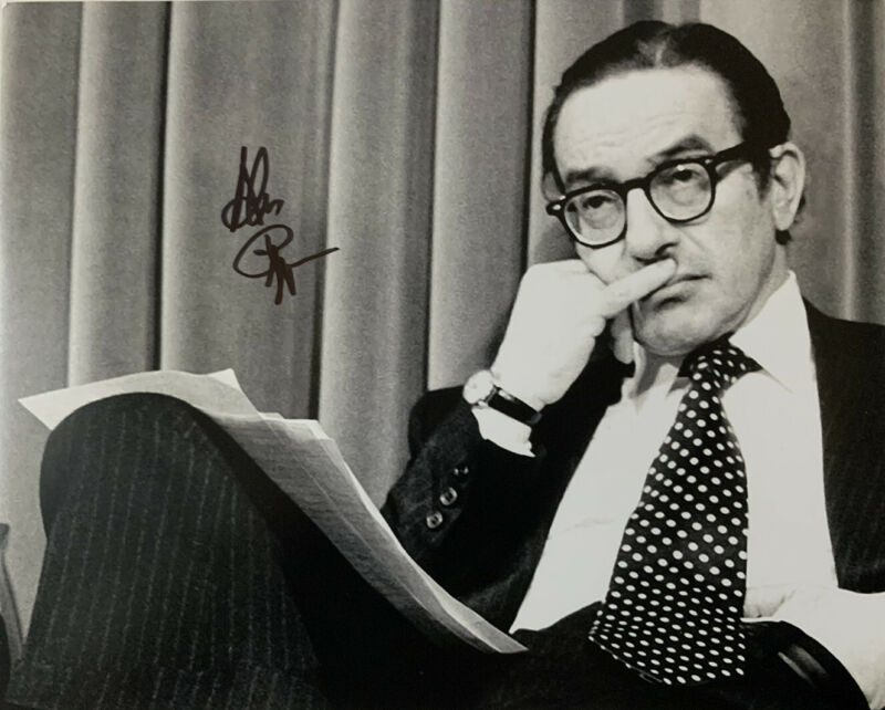 ALAN GREENSPAN HAND SIGNED 8x10 PHOTO CHAIR OF THE FEDERAL RESERVE AUTOGRAPH COA