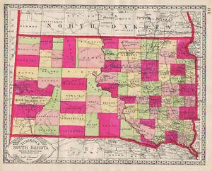 1886 South Dakota HAND COLORING original ANTIQUE MAP