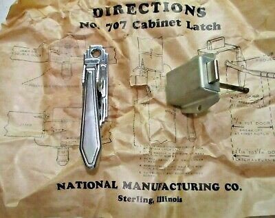 Vintage National 707 Stair Stepped Chrome Mechanical Cabinet Door Latch Complete