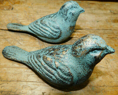 2 Cast Iron DOVES Garden Statue BIRD Yard Art Home Ranch Decor LOVE BIRDS