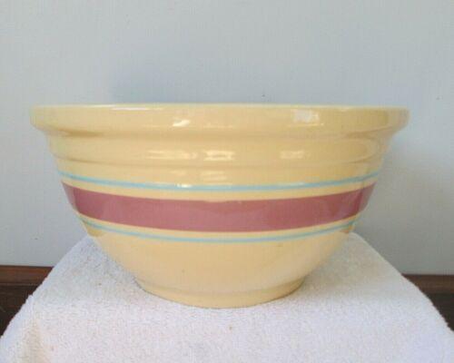 Vintage Mixing Bowl Ovenware Stoneware Large #12 Pink/Blue Stripe