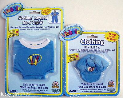 Webkinz Clothing 3-pc BLUE Capri Layered Tee Capri & Hat Lot Set SEALED w/ Code  - Blue Code Clothing