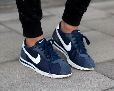 ❤ BNWB & Genuine Nike ® Classic Cortez Nylon Obsidian White Trainers UK Size 9