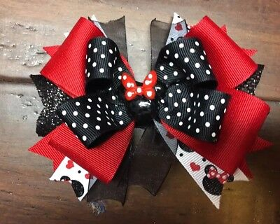 Minnie Mouse Stacked Boutique Hair Bow Black Dots Disney Girl Clip Red Glitter