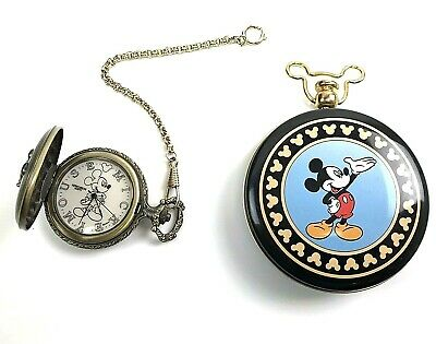 Disney Mickey Mouse Unlimited Verichron Quartz Pocket Watch & Case