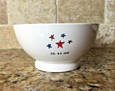 RAE DUNN Patriotic 4th of July Cereal Bowl 2018 Stars Blue Interior Ivory  Ivory Cereal Bowl