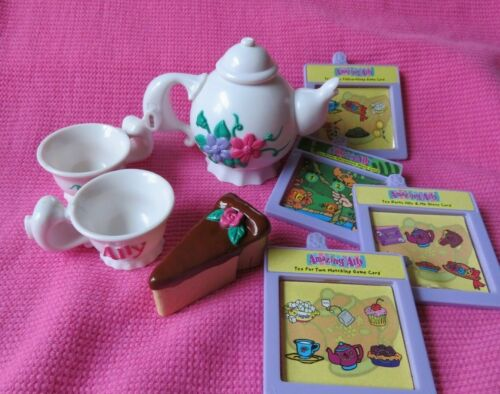 AMAZING ALLY DOLL interactive TEAPOT TEACUPS CAKE book cartridges accessory  LOT