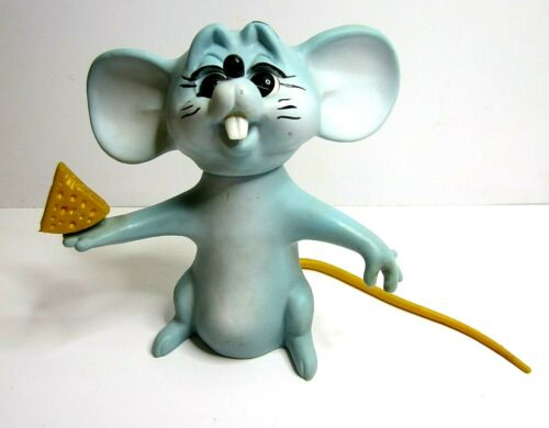 Vintage Royalty Designs 1967 Blue Mouse With Cheese Saving Piggy Coin Bank