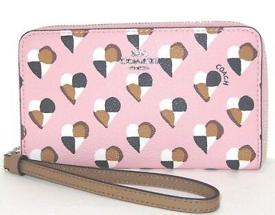 Coach F25963 Small Phone Wallet Pink Blush Checker Heart Print Coated Canvas NWT