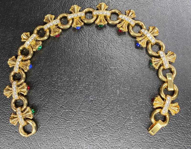 Vtg Avon Rhinestone Bow Tennis Bracelet Gold Tone Signed Costume Jewelry