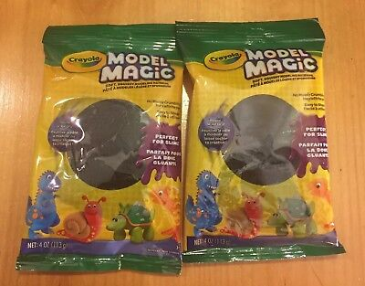 (2 Pack Lot Crayola Model Magic 4 oz each Black Clay Reusable Air Dry)