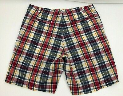 Madras Flat Front Short (Polo Jeans Ralph Lauren Flat Front Shorts Madras Plaid Red Yellow Blue Mens 40)
