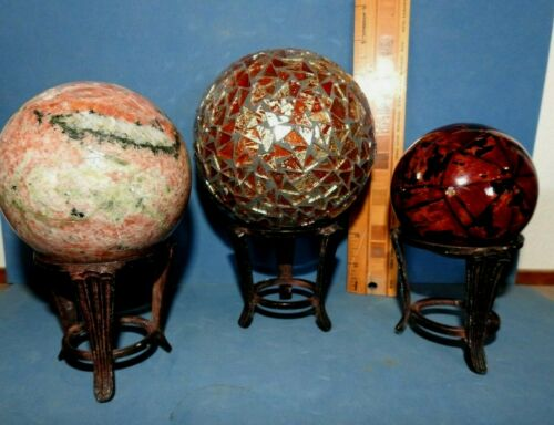 STURDY  BRONZE  METAL DISPLAY STAND  for SPHERE , BALL, ROCK CANDLE