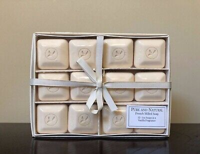 PURE and NATURAL 12 French Milled Soap Vanilla Fragrance 1 oz ea Boxed Gift Set Natural French Milled Soap