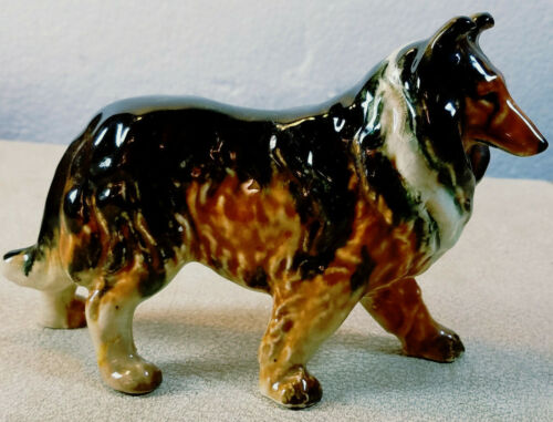 """Antique Tri-Color Collie Dog Figure Occupied Japan 4 1/4"""" Tall 6"""" Long"""