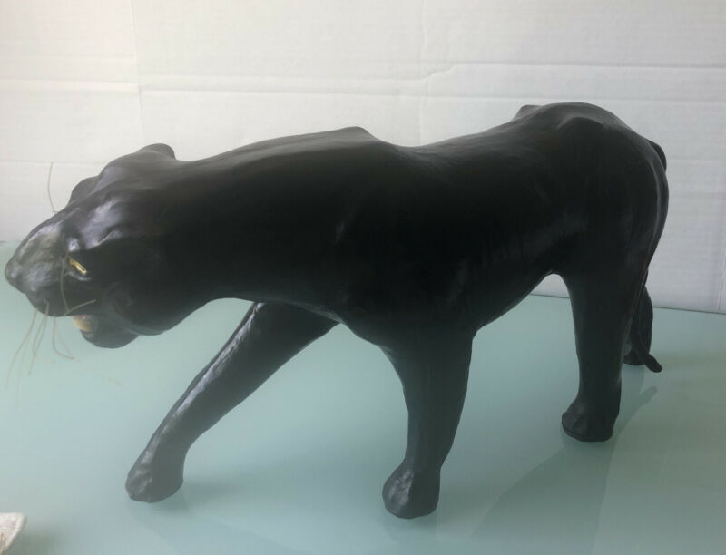 "Leather Wrapped Black Panther Sculpted Animals 9""X19""Wild Cat Made In India 1970"