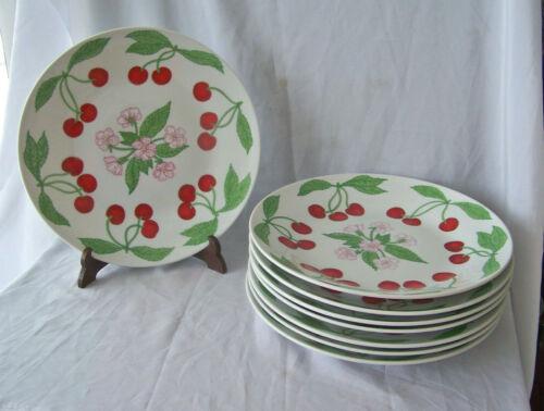 "8 Vintage Richard Ginori Italy HP 10 1/2"" Dinner Plates w Cherry & Flower Design"