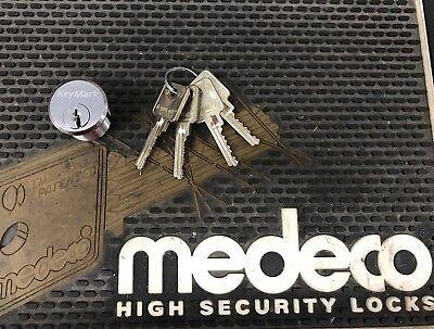 Keymark By Medeco Satin Chrome Mortise Cylinder 1-14 W 4 Keys Free Shipping