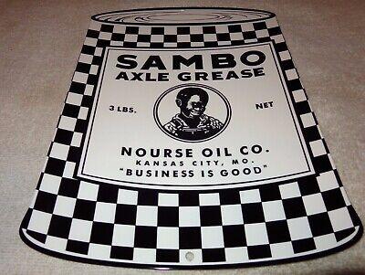 "VINTAGE SAMBO AXLE GREASE NOURSE BLACK BOY GRAPHICS 12"" METAL GASOLINE OIL SIGN!"