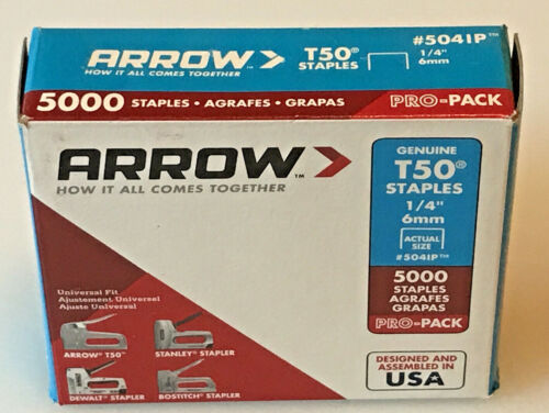 "ARROW Fastner Heavy Duty Staples T50 1/4"" x 3/8"" Medium Crown, 5041P, New"