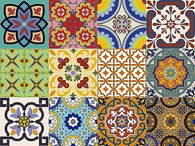 24 Set Mexican tile Stickers wall decals home decor Kitchen design Bathroom C400 (400 Home Decor)