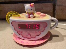 HELLO KITTY TEA CUP DIGITAL AM/FM ALARM CLOCK RADIO &  NIGHT LIGHT HK155 EUC