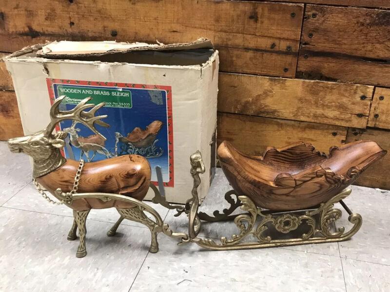 Vintage Christmas Around The World Wooden & Brass Sleigh & Reindeer,