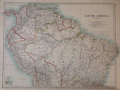 Eastern United States or South America (Northern) Antique Map 1891 Large, Atlas