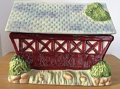 Covered Bridge Cookie Jar Container Red Blue Green Walk Your Horses Ceramic