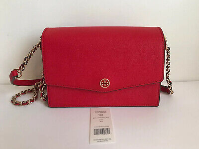 NWT!!Tory Burch Robinson Mini Leather Convertible Shoulder Bag In Brilliant Red