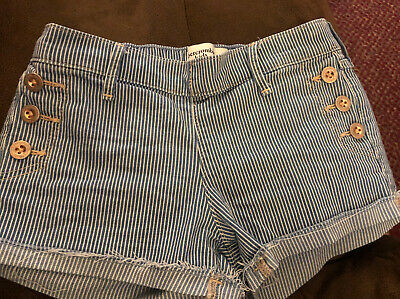 EUC ABERCROMBIE KIDS STRIPED DENIM girlS shorts, size 11/12