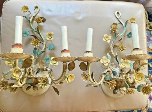 Vintage French Floral Wall Sconces