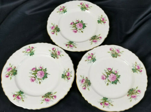 3 Syracuse China Fine JUNE ROSE Dinner Plates NICE Gold Trim