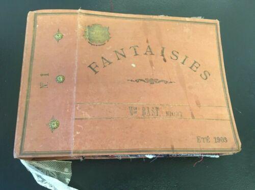 """Antique 1903 French Fabric Sample Album """"Fantaisies"""""""
