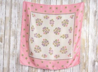 """No Brand Label Ladies Scarf 25""""X26"""" Pink-White Floral Scarf"""