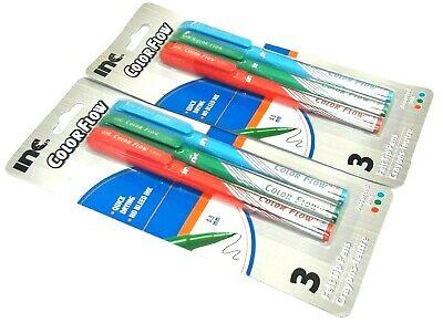 2 PACKS 6 PENS INC® COLOR FLOW FELT TIP PENS MULTI COLORED PINK INK 0.5 mm