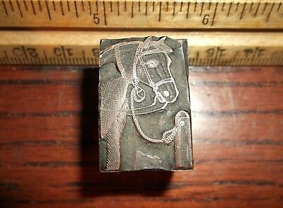 Antique Horse Hitched To Post Solid Copperlead Cut Letterpress Printing Vintage