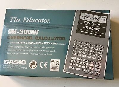 vintage CASIO The Educator, OH-300W, OVERHEAD CALCULATOR, Unused Sealed In Box