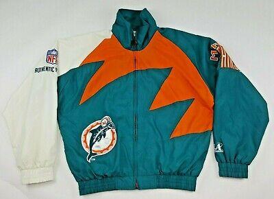 - Vintage Logo Athletic Jacket Miami Dolphins NFL Football Size XL/TG Full Zipper