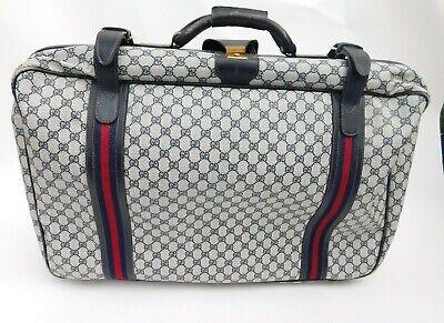 Vintage GUCCI GG Monogram Suitcase Luggage Travel Bag Blue Web